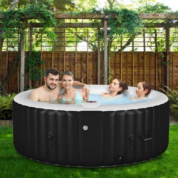 Portable Inflatable Massage Spa Hot Tub 4 Person - Black