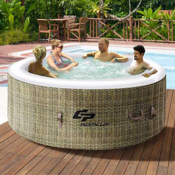 4 Person Inflatable Hot Tub Jets Portable Massage Spa - as pic