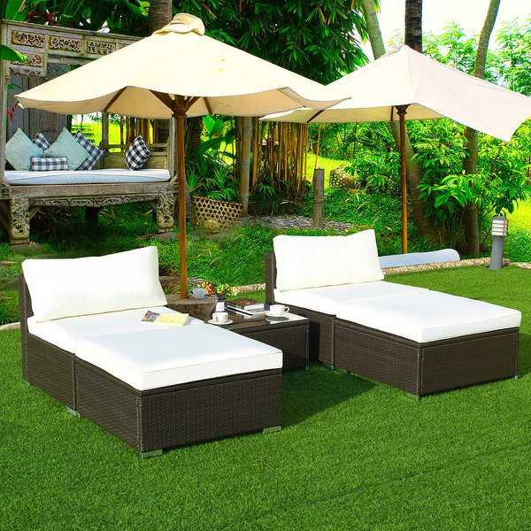 Gymax 5 PC Lounge Patio Rattan Sectional Furniture Set Wicker Sofa Daybed Outdoor