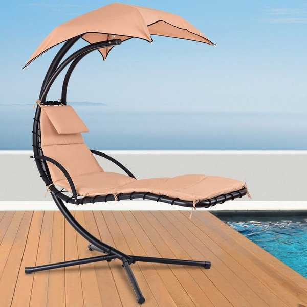 Gymax Hanging Chaise Lounger Chair Arc Stand Porch Swing Hammock Chair W/ Canopy Khaki