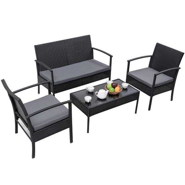 Gymax Patio Garden 4PC Rattan Wicker Furniture Set Black