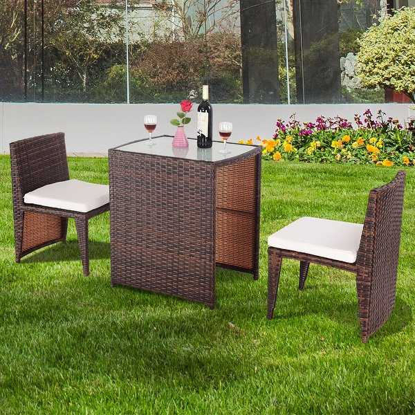 Gymax 3 PCS Cushioned Wicker Patio Furniture Set Seat Sofa Outdoor Garden Lawn Brown
