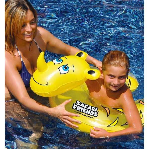 24' Water Sports Safari Friends Inflatable Yellow Rhino Split Ring Swimming Pool Child Float